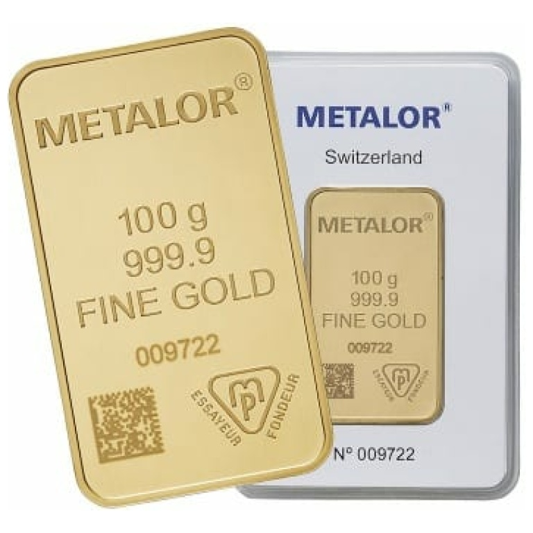 Metalor 100 Gram Gold Bar