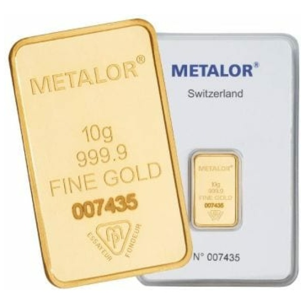 Metalor 10 Gram Gold Bar