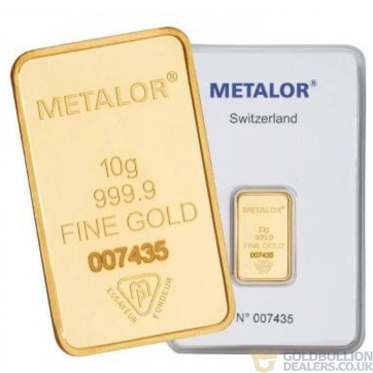 Metalor 10 Gram Gold Bar