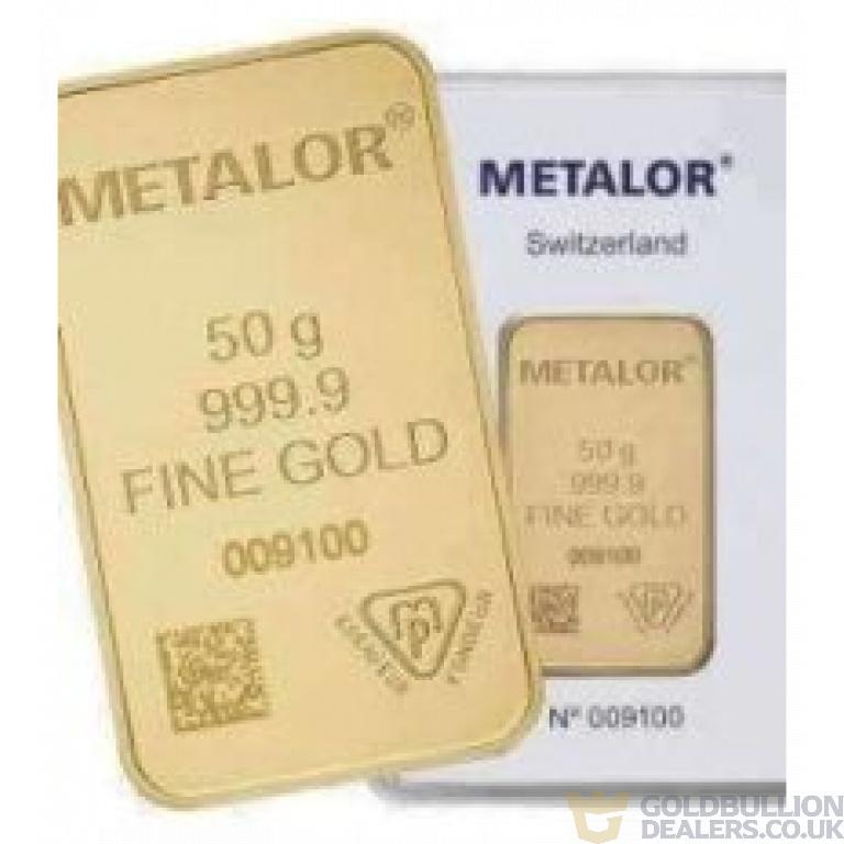 Metalor 50 Gram Gold Bar