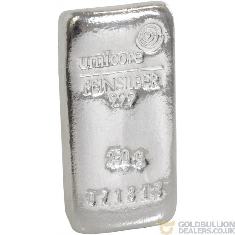 Umicore 250 Gram Silver Bullion Bar
