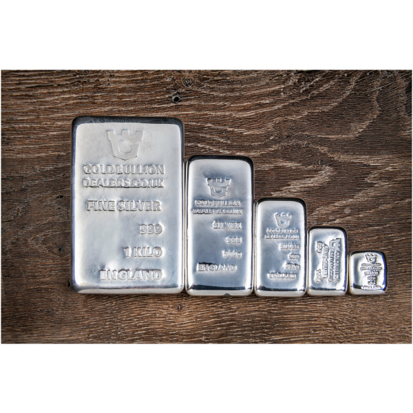 Gold Bullion Dealers Silver bars with wood background